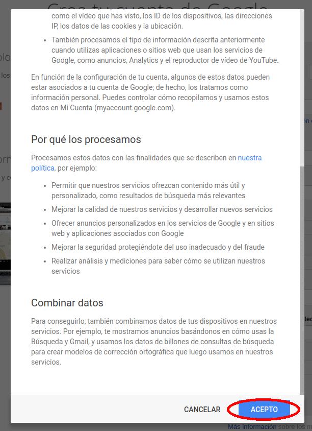 condiciones de Google Gmail