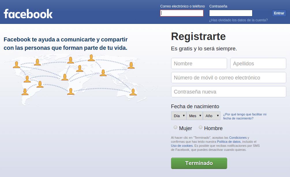 registro en Facebook