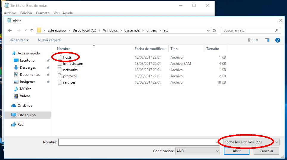 abrir archivo hosts