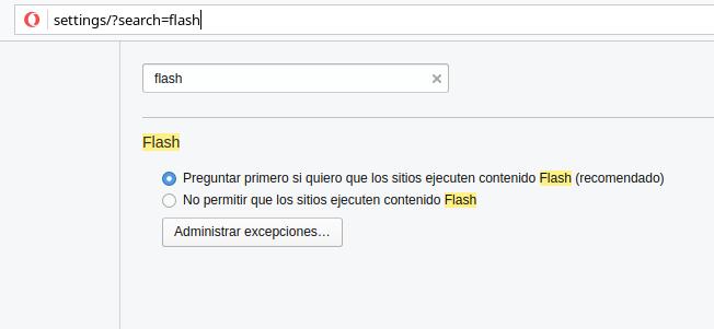 ajustes flash opera