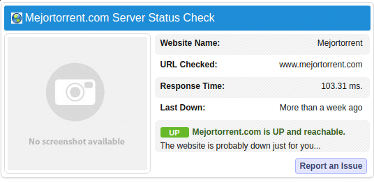 comprobar si MejorTorrent está caída