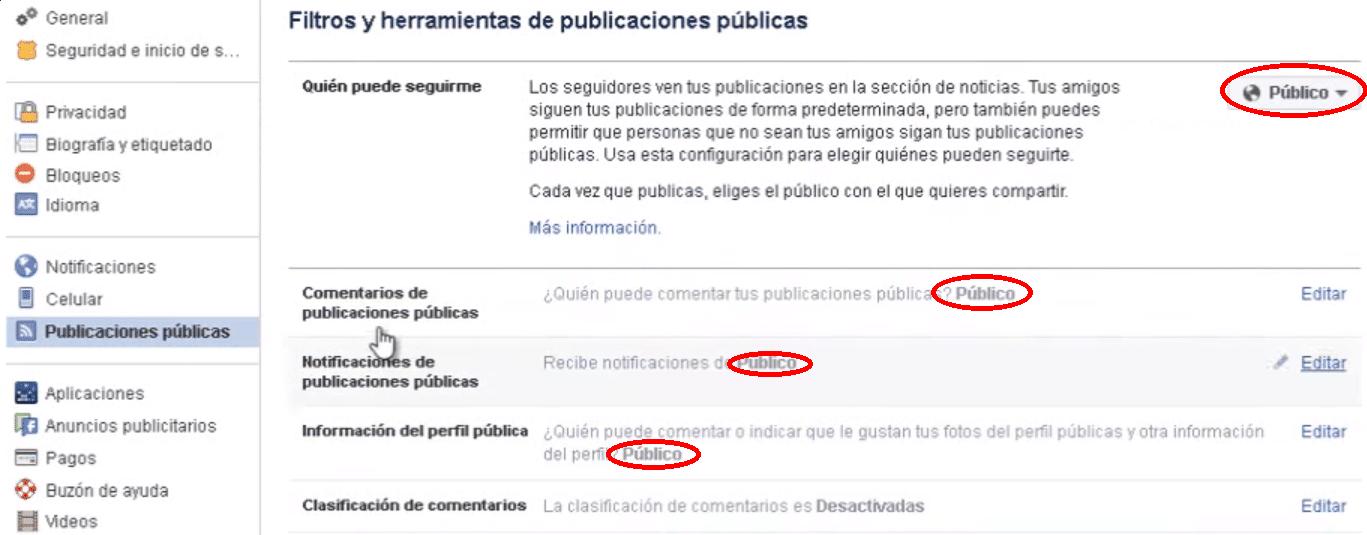 publicaciones públicas Facebook