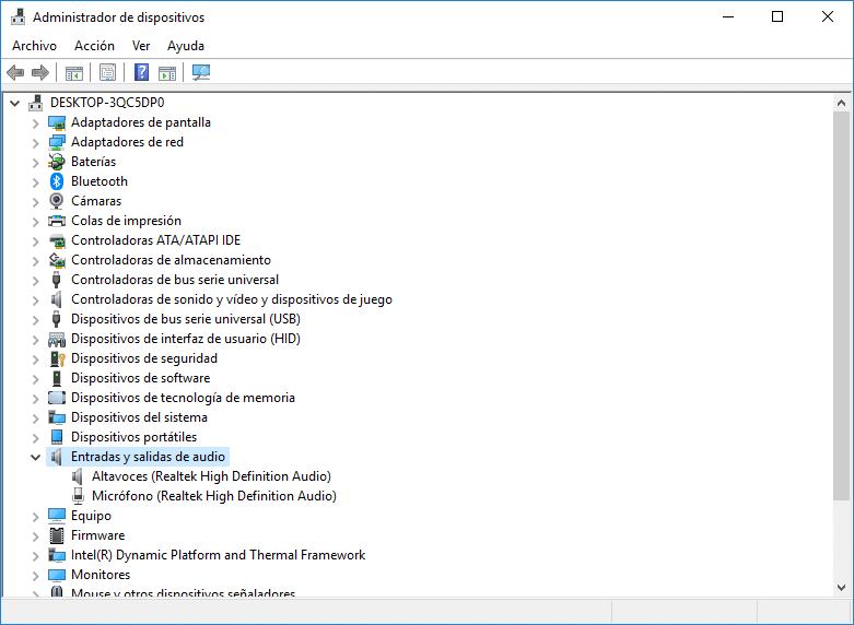administrador de dispositivos, entradas y salidas de audio
