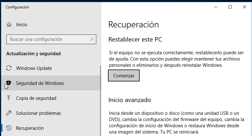 restablecer PC en Windows 10
